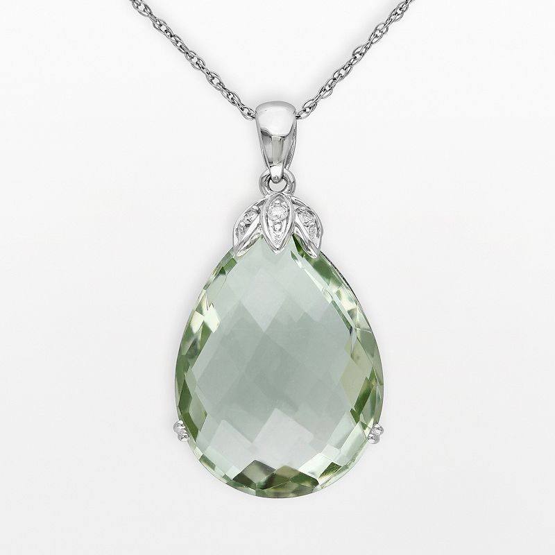 10k White Gold Green Quartz and Diamond Accent Drop Teardrop Pendant
