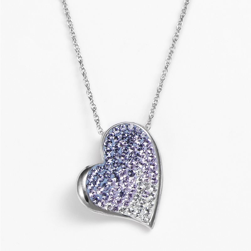 Artistique Sterling Silver Crystal Ombre Heart Pendant - Made with Swarovski Crystals