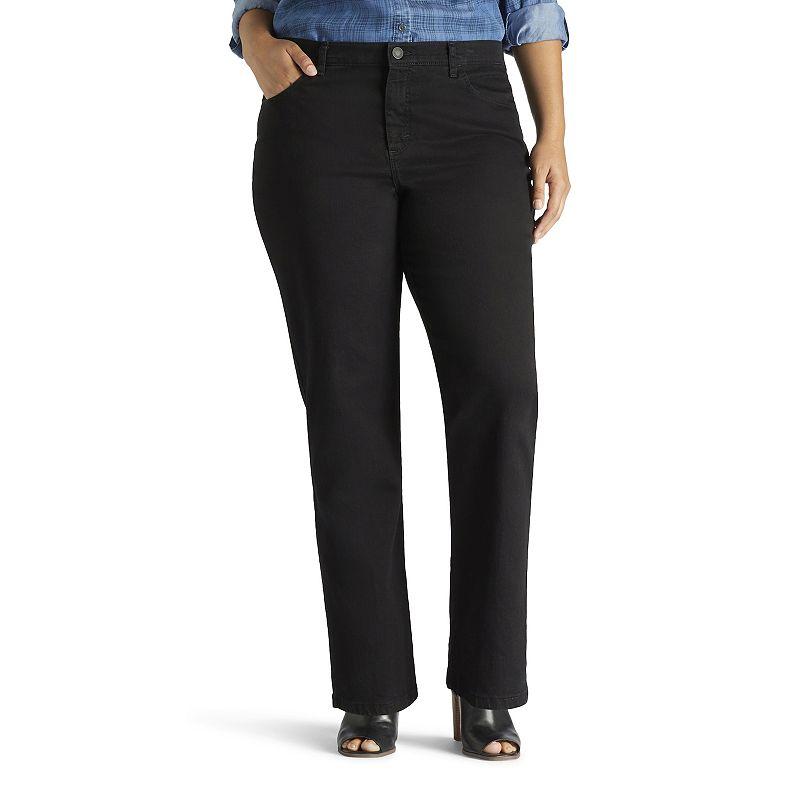 Plus Size Lee Monroe Classic Fit Straight-Leg Jeans, Women's, Size: 22W SHORT, Black