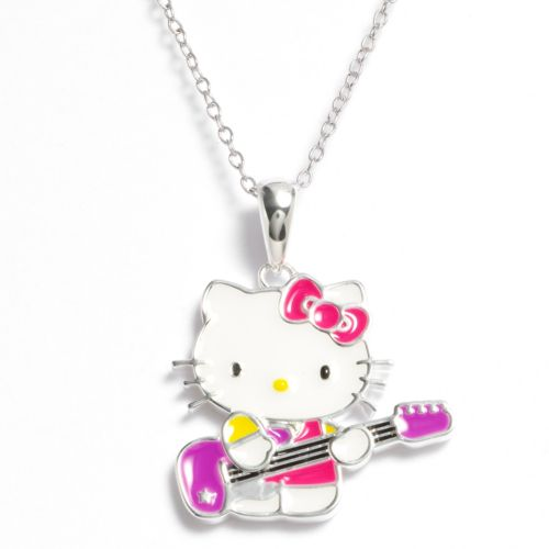 Hello Kitty Silver-Plated Guitar Pendant - Kids