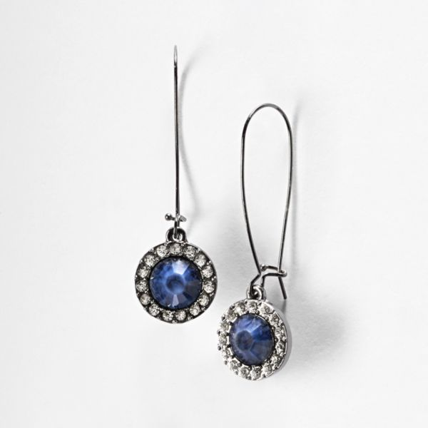 Simply Vera Vera Wang Jet Simulated Crystal and Bead Drop Earrings
