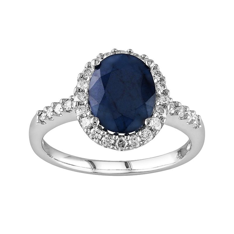 10k White Gold Sapphire and 2/5-ct. T.W. Diamond Frame Ring