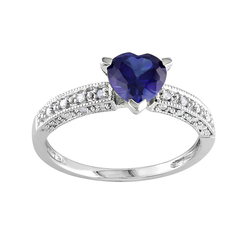 10k White Gold Lab-Created Sapphire and 1/10-ct. T.W. Diamond Heart Ring