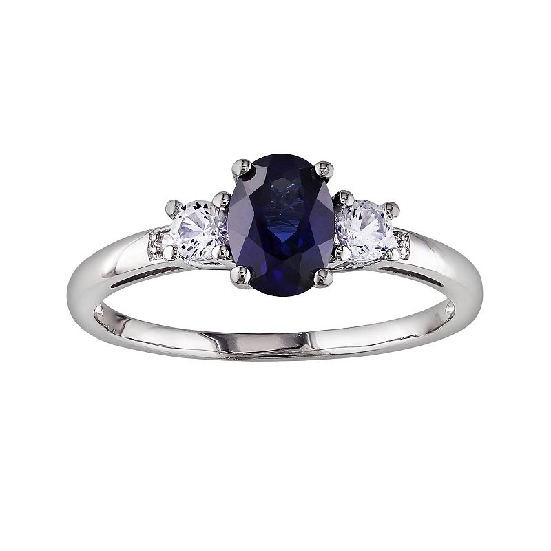 10k White Gold Lab-Created Blue Sapphire, Lab-Created White Sapphire and Diamond Accent 3-Stone Ring