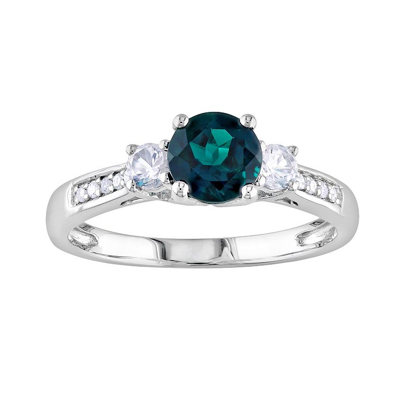 10k White Gold Lab-Created Emerald, Lab-Created White Sapphire and Diamond Accent 3-Stone Ring