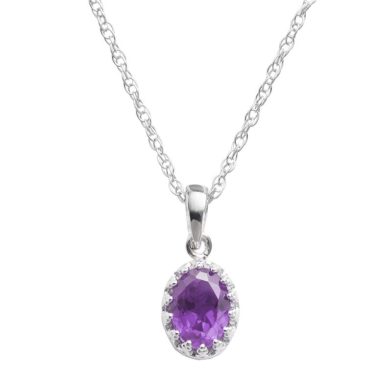 Sterling Silver Amethyst Oval Pendant