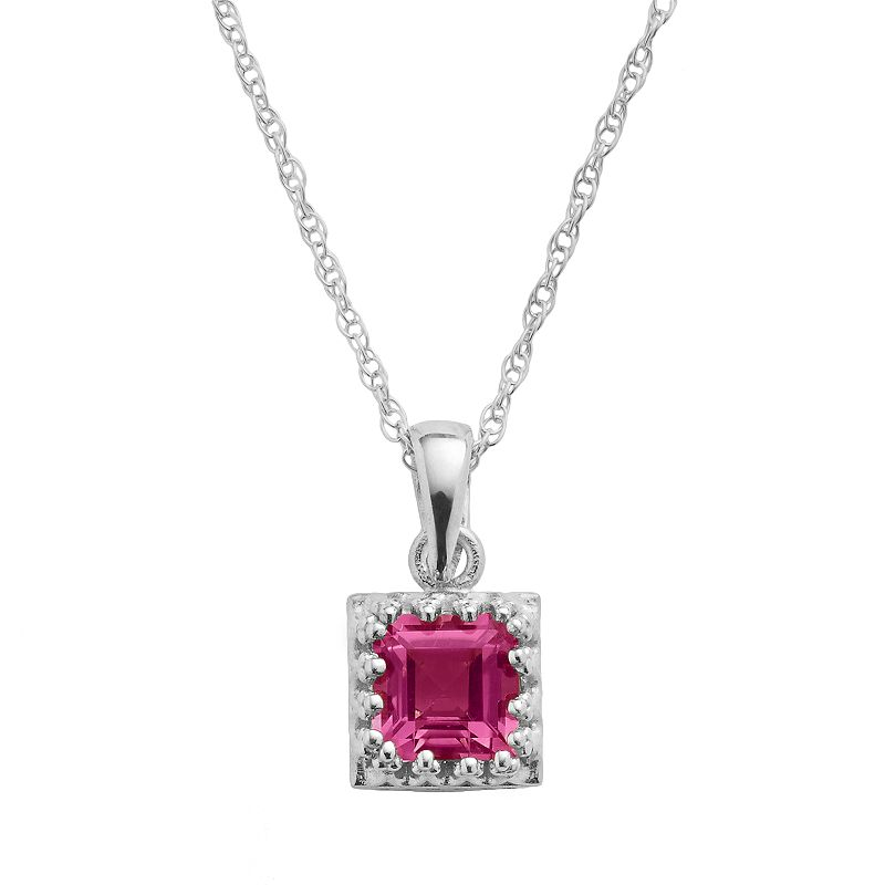 Sterling Silver Lab-Created Ruby Square Pendant