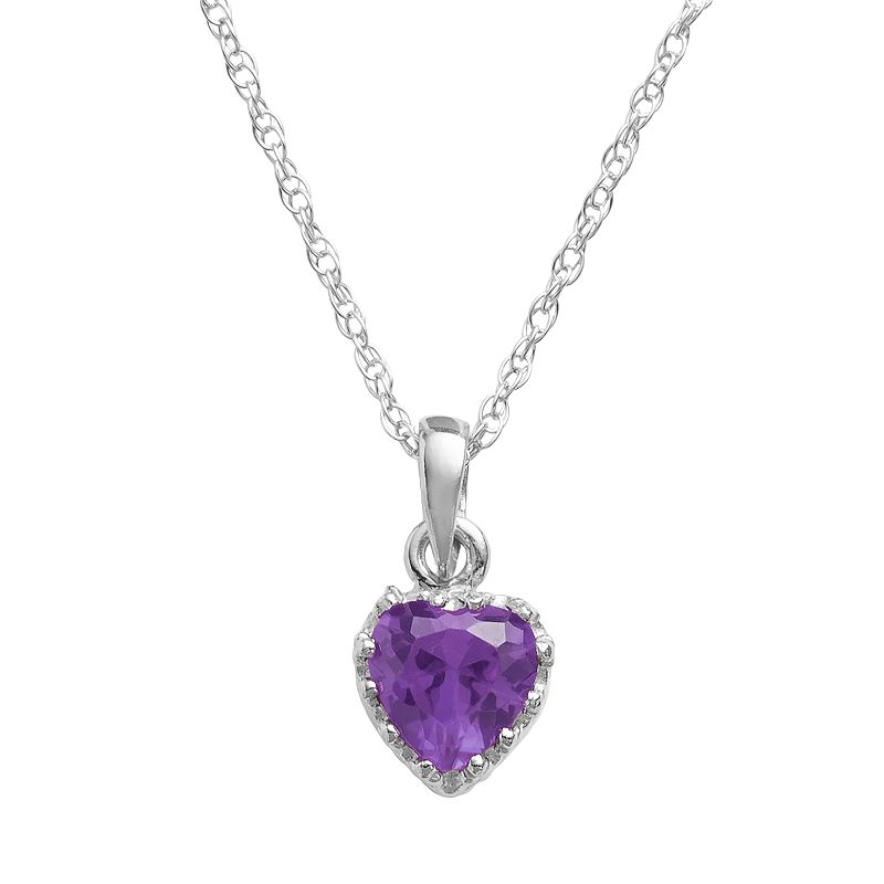 Sterling Silver Amethyst Heart Crown Pendant