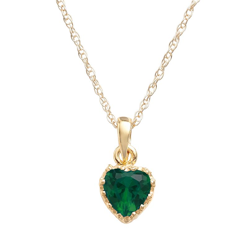 14k Gold Over Silver Lab-Created Emerald Heart Crown Pendant