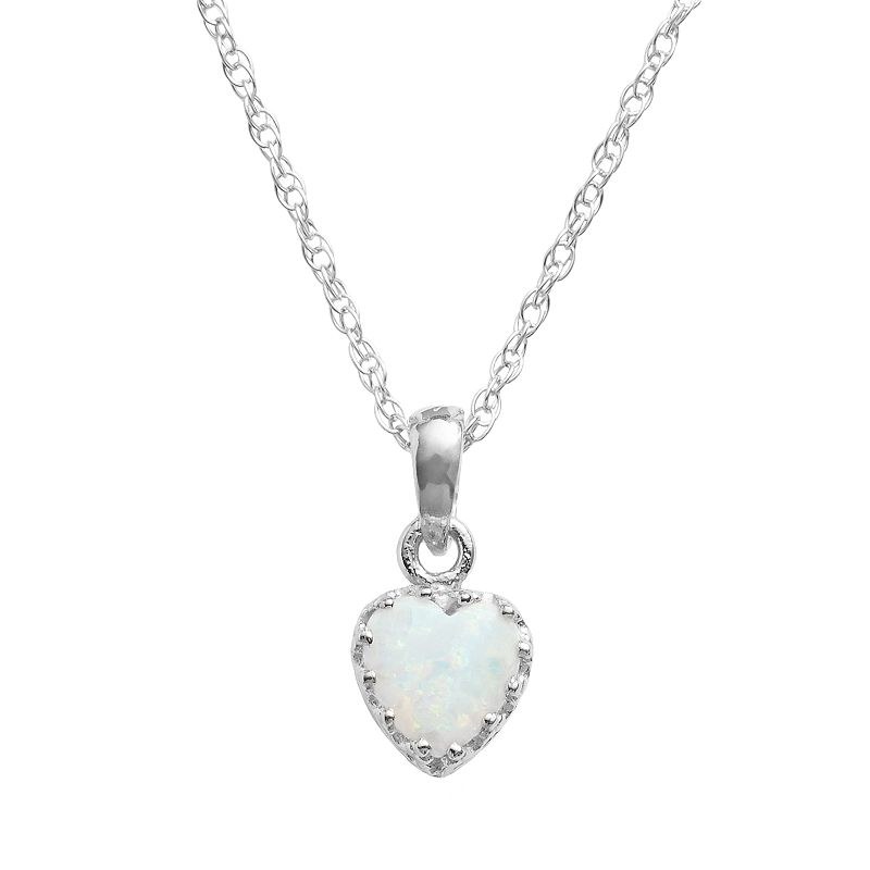 Sterling Silver Lab-Created Opal Heart Crown Pendant