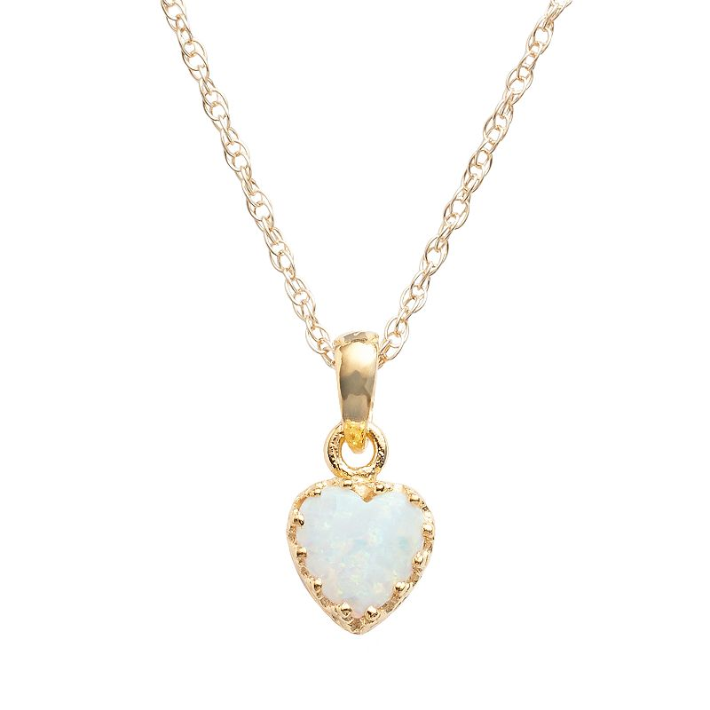 14k Gold Over Silver Lab-Created Opal Heart Crown Pendant