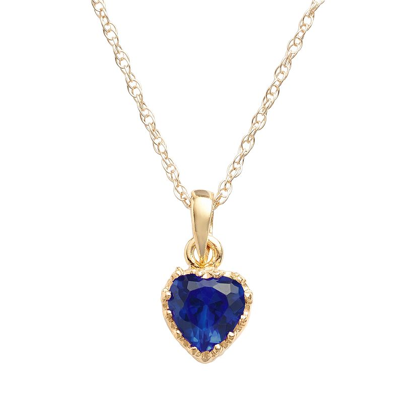 14k Gold Over Silver Lab-Created Sapphire Heart Crown Pendant