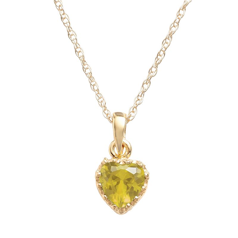 14k Gold Over Silver Citrine Heart Crown Pendant