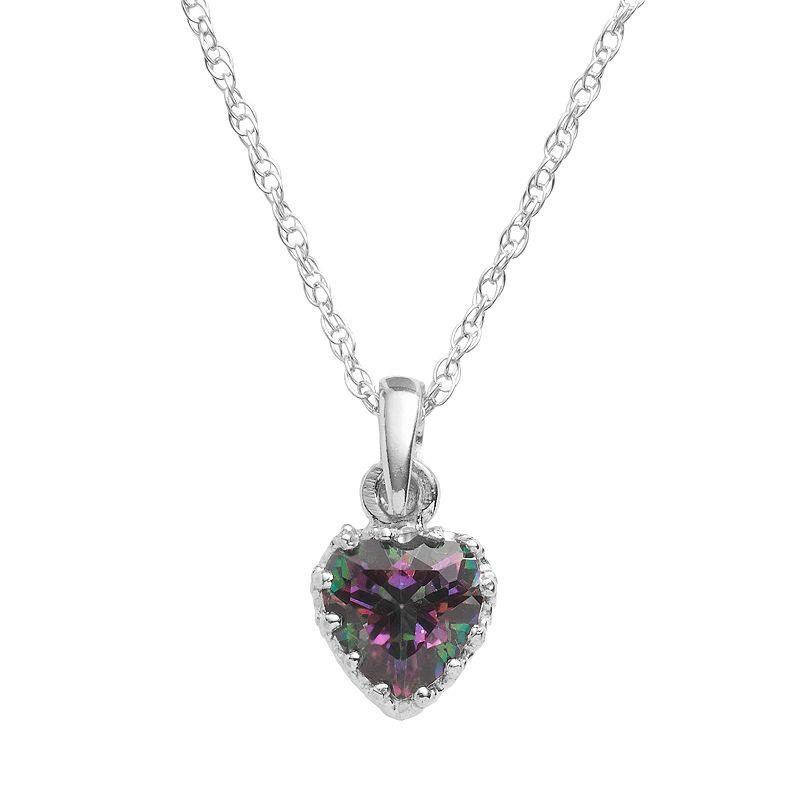 Sterling Silver Rainbow Quartz Heart Crown Pendant