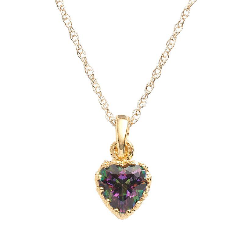 14k Gold Over Silver Rainbow Quartz Heart Crown Pendant