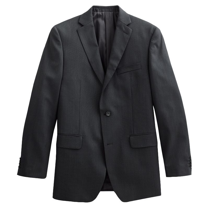 Men's Marc Anthony Modern-Fit Texture-Striped Wool Black Suit Jacket