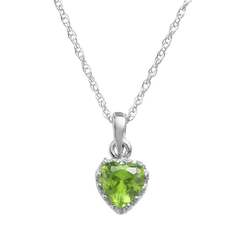 Sterling Silver Peridot Heart Crown Pendant
