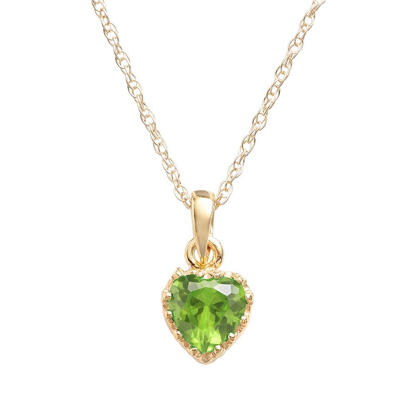 14k Gold Over Silver Peridot Heart Crown Pendant