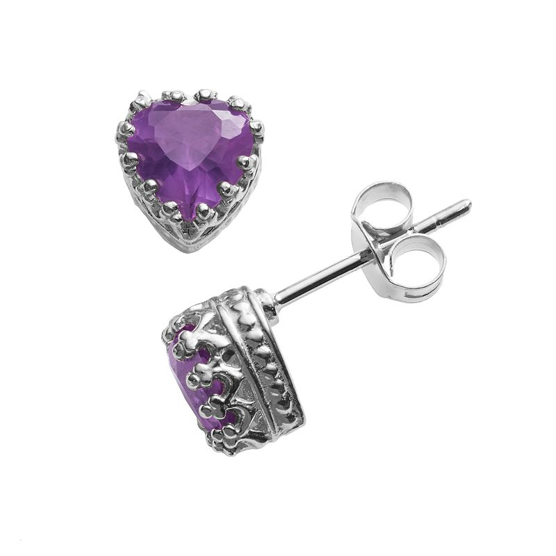 Sterling Silver Amethyst Heart Crown Stud Earrings