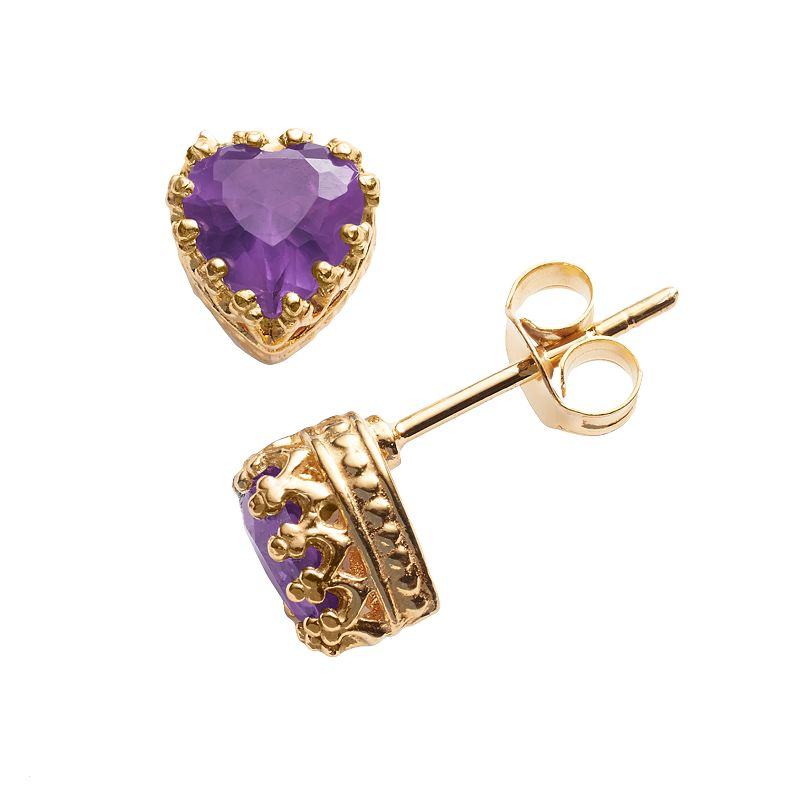 14k Gold Over Silver Amethyst Heart Crown Stud Earrings