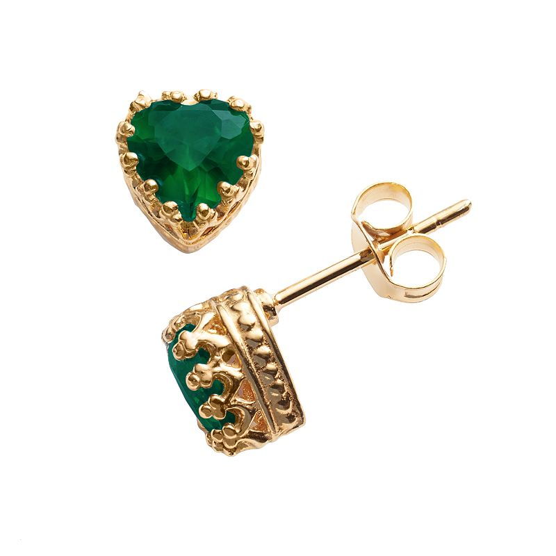 14k Gold Over Silver Lab-Created Emerald Heart Crown Stud Earrings