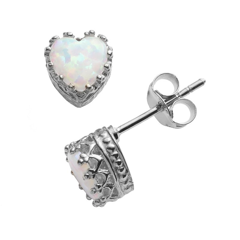 Sterling Silver Lab-Created Opal Heart Crown Stud Earrings