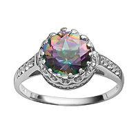 Sterling Silver Rainbow Quartz & Lab-Created White Sapphire Crown Ring