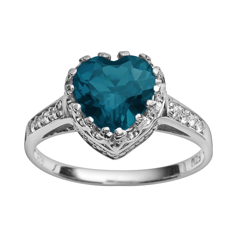 Sterling Silver London Blue Topaz and Lab-Created White Sapphire Heart Crown Ring