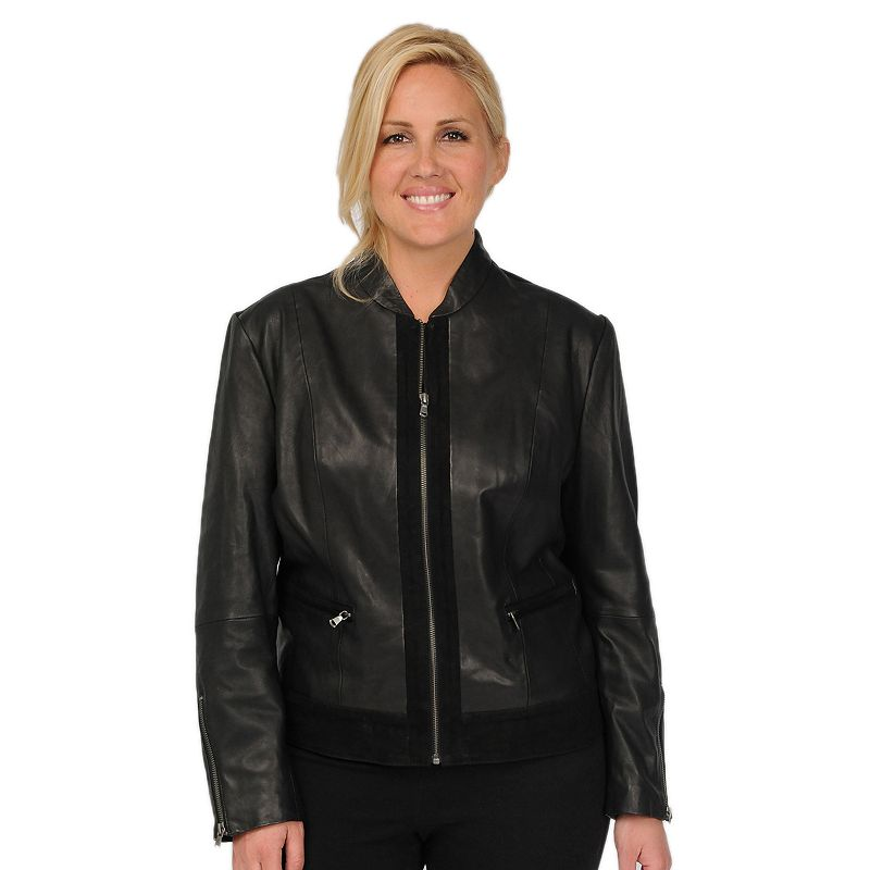 Plus Size Excelled Suede-Trim Leather Scuba Jacket