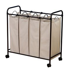 Household Essentials Rolling Quad Laundry Hamper by