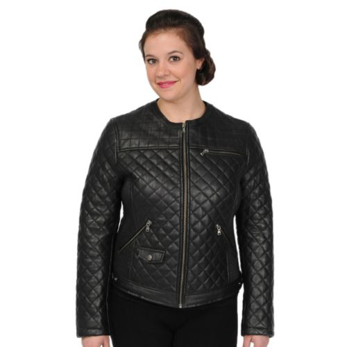 Women's Excelled Quilted Leather Crop Jacket