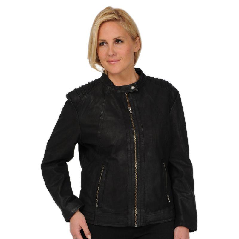 Plus Size Excelled Sueded Leather Scuba Jacket, Women's, Size: 1X, Black