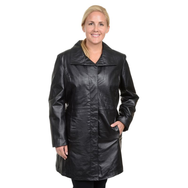 Plus Size Excelled Nappa Leather Coat, Women's, Size: 2XL, Black