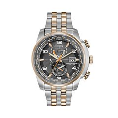 Citizen Eco-Drive Men's World Time A-T Two Tone Stainless Steel Chronograph Watch AT9016-56H