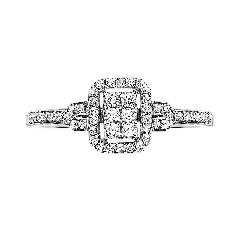 Cherish Always Round-Cut Diamond Frame Engagement Ring in 10k White Gold (1/4 ct. T.W.)