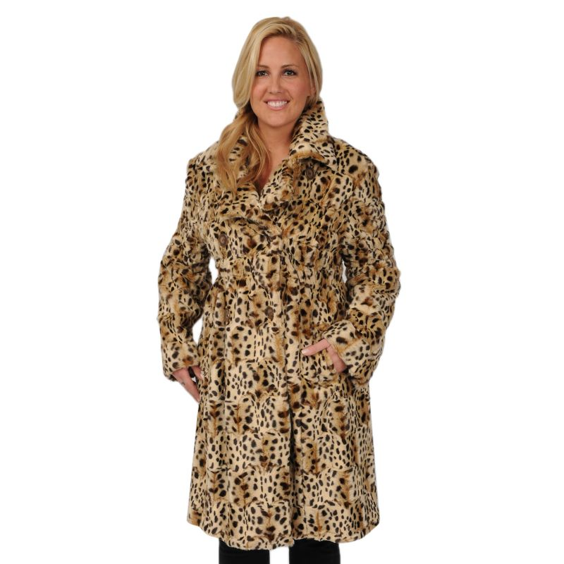 Plus Size Excelled Cheetah Faux-Fur Coat, Women's, Size: 1X, Leopard