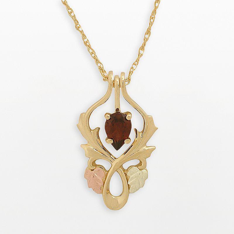 Black Hills Gold Tri-Tone Garnet Leaf Pendant