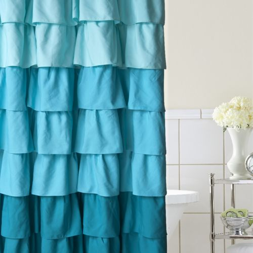 Home Classics® Ruffle Ombre Fabric Shower Curtain