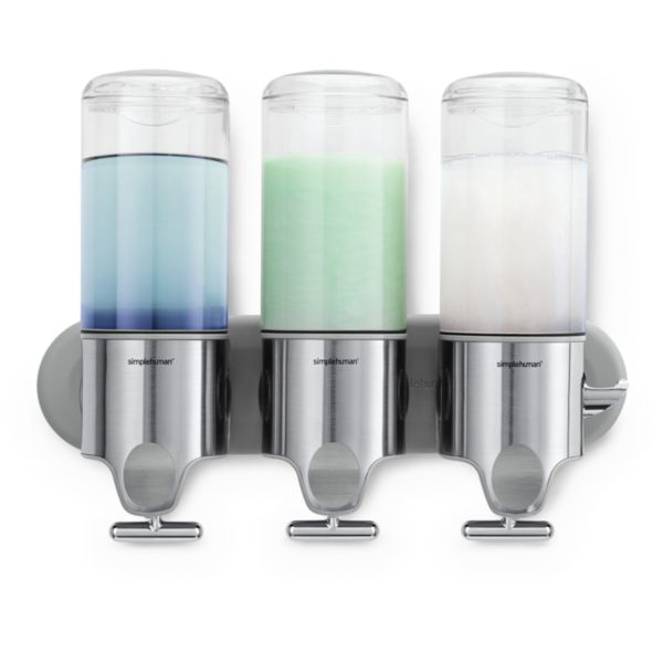 simplehuman Triple Shampoo and Soap Dispenser Wall-Mount Pumps