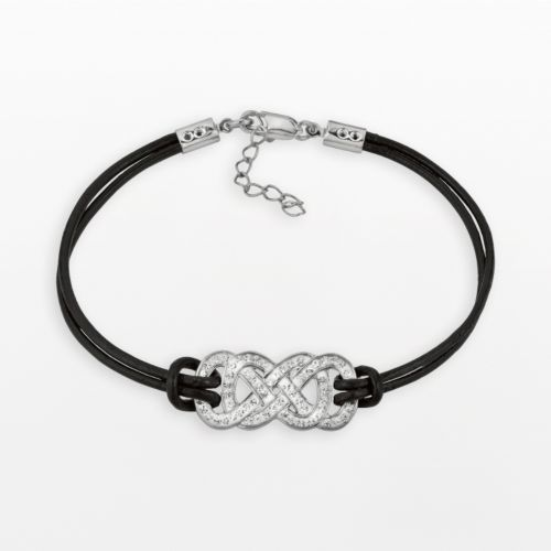 Yours for Infinity Silver-Plated Crystal Double Infinity Leather Bracelet