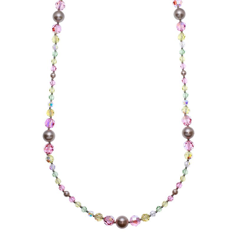 Crystal Avenue Silver-Plated Crystal and Simulated Pearl Long Necklace - Made with Swarovski Crystals