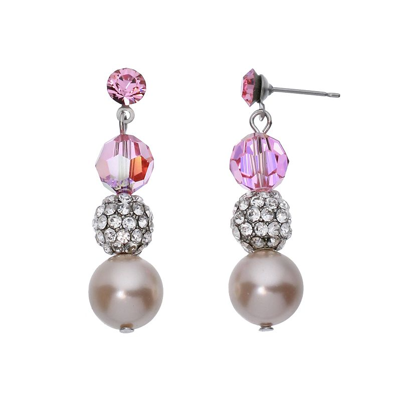 Crystal Avenue Silver-Plated Crystal and Simulated Pearl Linear Drop Earrings - Made with Swarovski Crystals