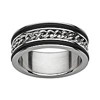 Titanium & Stainless Steel Curb Chain Spinner Band - Men