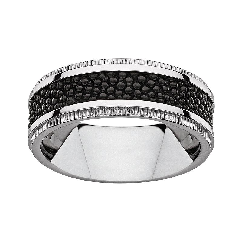 Titanium and Textured Black Resin Band - Men