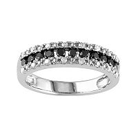Sterling Silver 1/2-ct. T.W. Black & White Diamond Ring