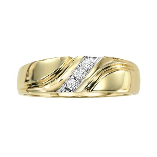Cherish Always 10k Gold 1/10-ct. T.W. Round-Cut Diamond Bypass Wedding Ring - Men