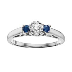Cherish Always Round-Cut Diamond & Sapphire Engagement Ring in 10k White Gold (1/6 ct. T.W.) by