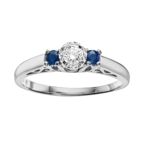 Cherish Always Round-Cut Diamond and Sapphire Engagement Ring in 10k White Gold (1/6 ct. T.W.)