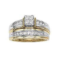 Cherish Always Princess-Cut Diamond Engagement Ring Set in 14k Gold Two Tone (1/2 ct. T.W.)