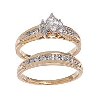 Cherish Always Marquise-Cut Diamond Engagement Ring Set in 14k Gold (1/2 ct. T.W.)